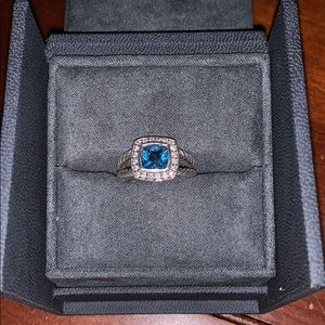 David Yurman Petite Albion Ring in Blue Topaz